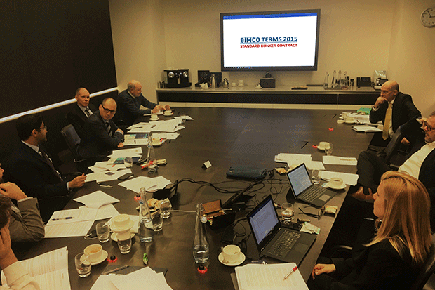 PHOTO: The bunker contract review team debate the terms and conditions at a meeting in London